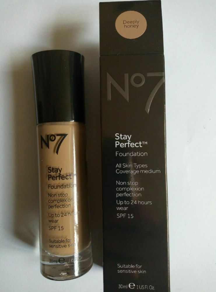 No7 Stay Perfect Foundation All Skin Types SPF 15 Deeply Honey Shade 30ml